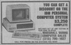 Ad for first PC clone, Marshall Burns Computer Sales, 1982