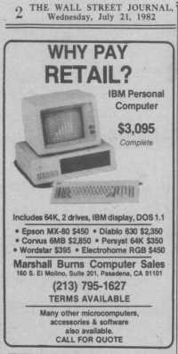 Ad for first PC clone, Wall Street Journal, 1982, Marshall Burns Computer Sales, Pasadena, CA